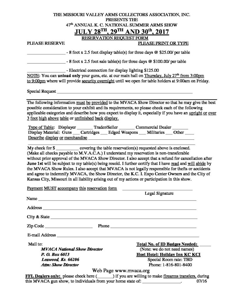 2017 Reservation Form | The Missouri Valley Arms Collectors ...