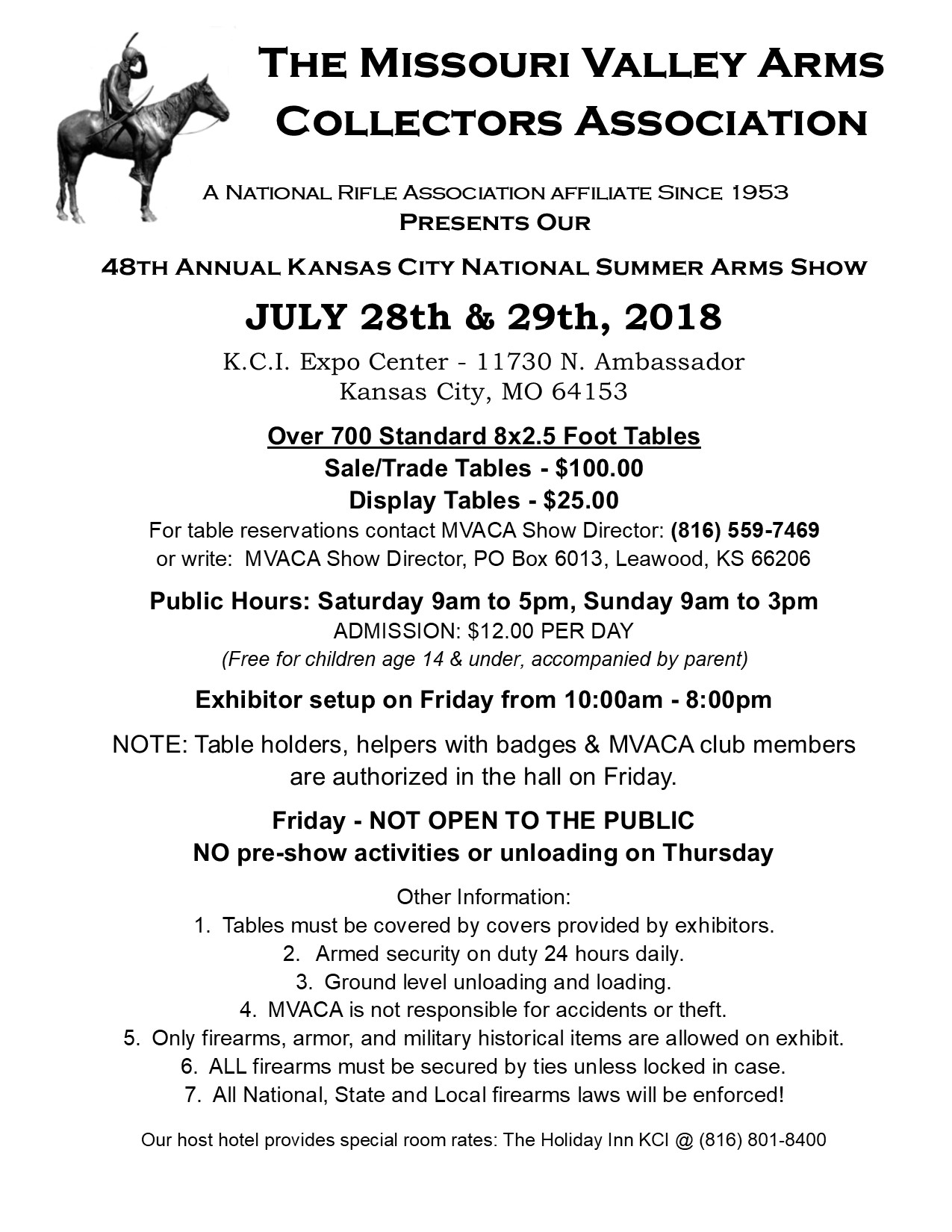 MVACA 2018 National Summer Arms Show Flyer
